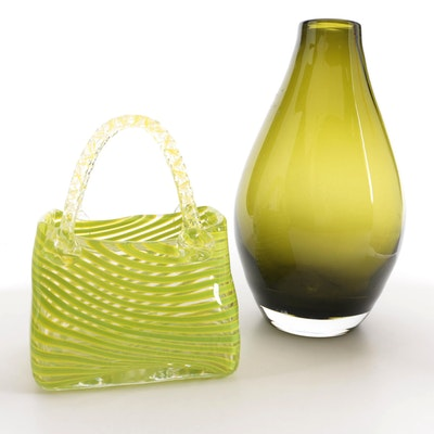 Decorative Blown Art Glass Purse with Art Glass Vase