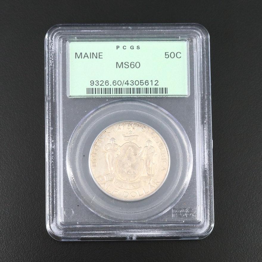 PCGS Graded MS60 1920 Maine Centennial Commemorative Silver Half Dollar