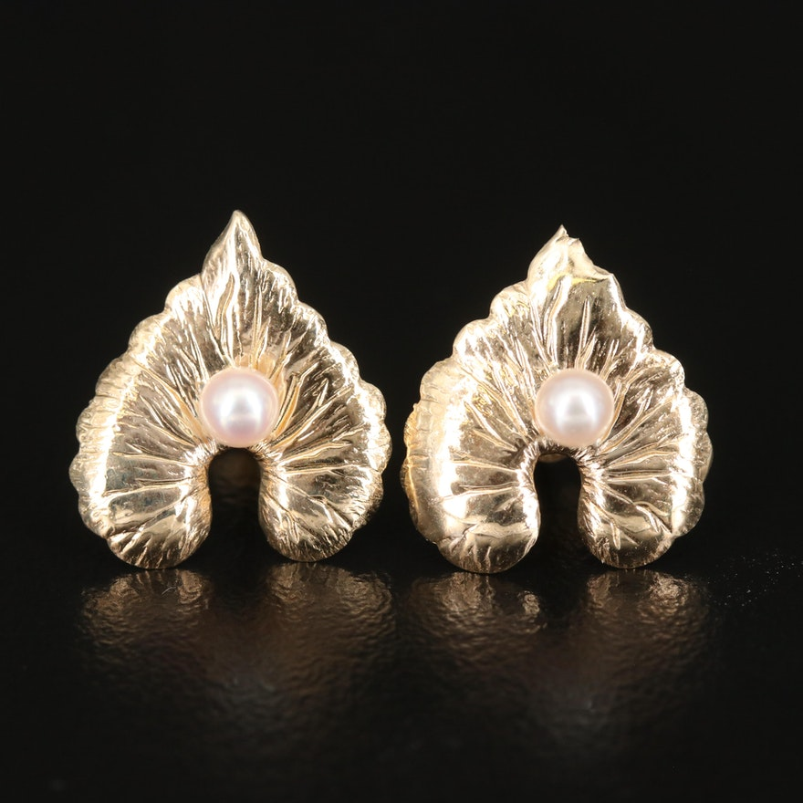 14K Pearl Foliate Earrings