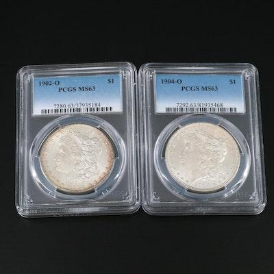 PCGS Graded MS63 1902-O and 1904-O Morgan Silver Dollars