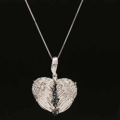 Sterling Diamond Winged Heart Locket Pendant Necklace