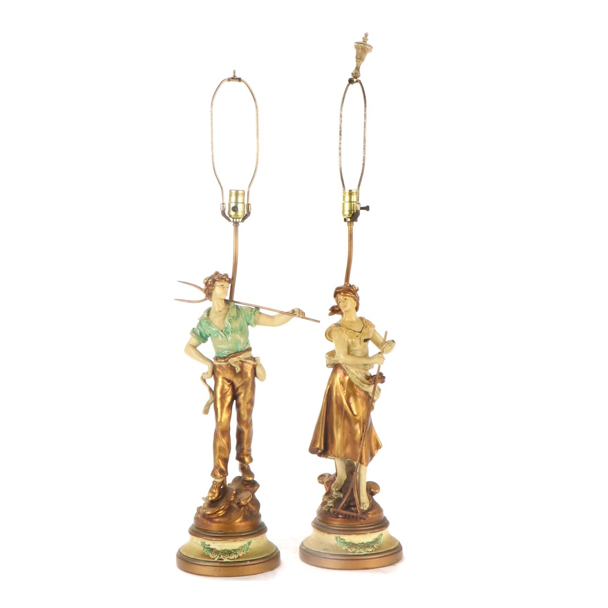 Spelter Painted Figurine Table Lamps after L&F Moreau, Mid-20th Century