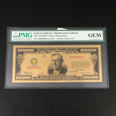 """Gem Uncirculated """"Smithsonian Edition"""" $100,000 Gold-Plated Gold Certificate"""
