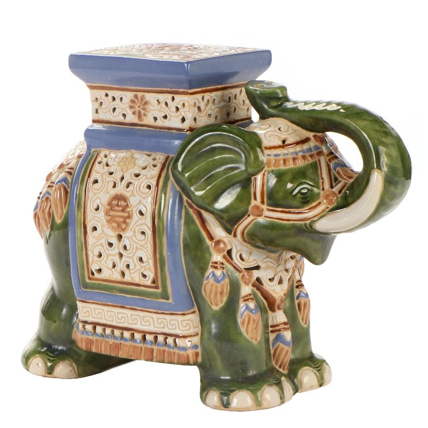 Chinese Glazed Ceramic Elephant Garden Stool