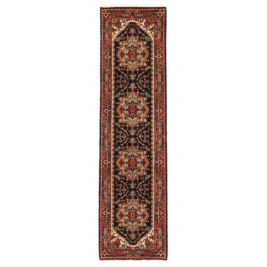 2'9 x 10'3 Hand-Knotted Indo-Persian Heriz Serapi Carpet Runner, 2010s