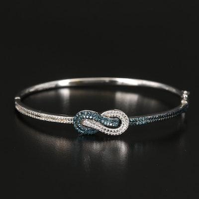 Sterling Silver Diamond Love Knot Bangle