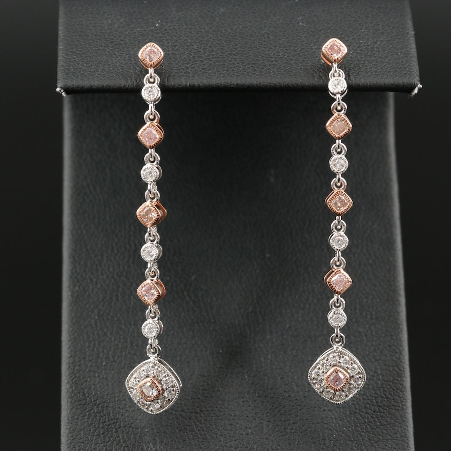 18K 1.09 CTW Diamond Drop Earrings with Rose Gold Accents