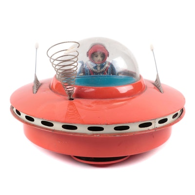Japanese Space Flying Saucer Tin Lithograph Battery Operated Toy, 1960s
