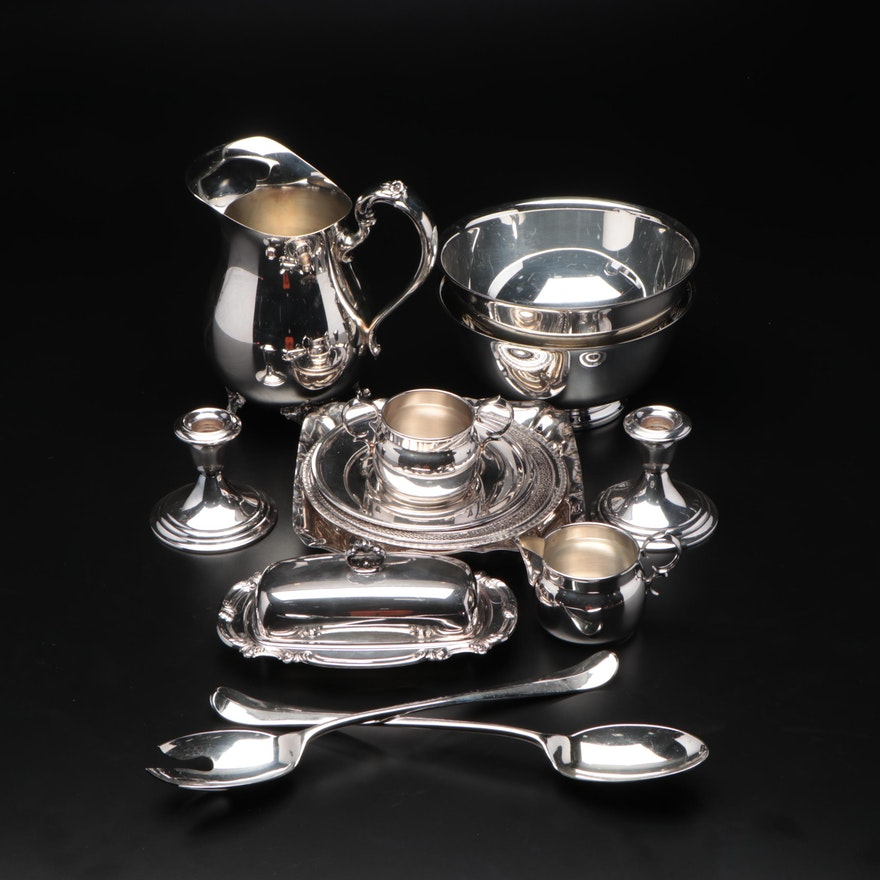 Silver Plate Bowls, Butter Server, Candlesticks, and Other Table Accessories