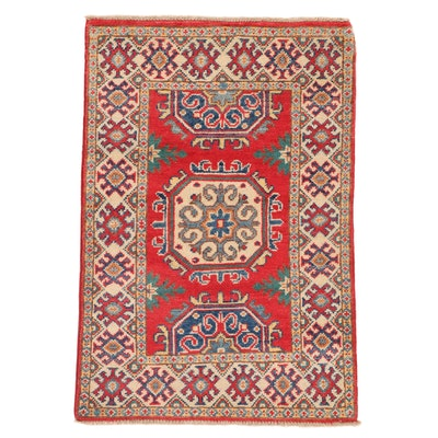 2'1 x 3' Hand-Knotted Afghan Caucasian Kazak Rug, 2010s
