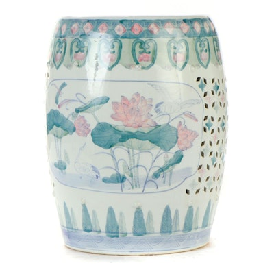 Chinese Water Lilies  and Lily Pads Ceramic Garden Stool