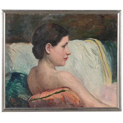 Figurative Oil Painting of Seated Female Nude, Late 20th Century