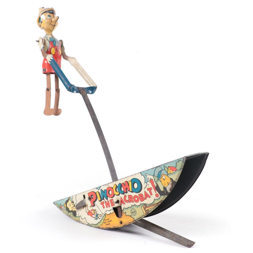 "Marx Walt Disney Prod. Pinocchio ""The Acrobat"" Tin Lithograph Wind-Up Toy, 1939"