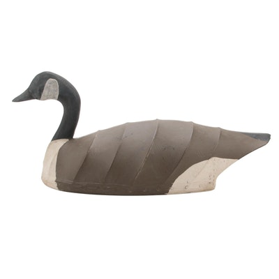 Ron Vick Carved Wood Canvas Covered Canada Goose Decoy
