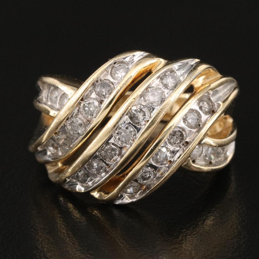 14K 1.00 CTW Diamond Crossover Ring
