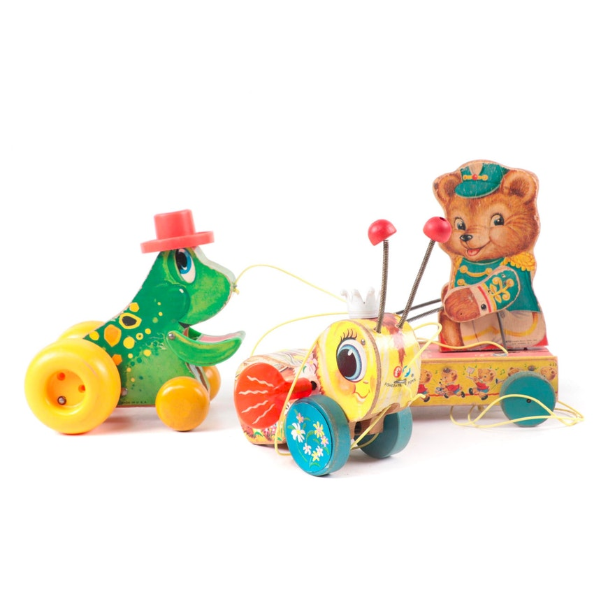 """Fisher-Price """"Queen Buzzy Bee,"""" """"Jolly Jumper,"""" and Other Pull Toys, Mid-20th C."""