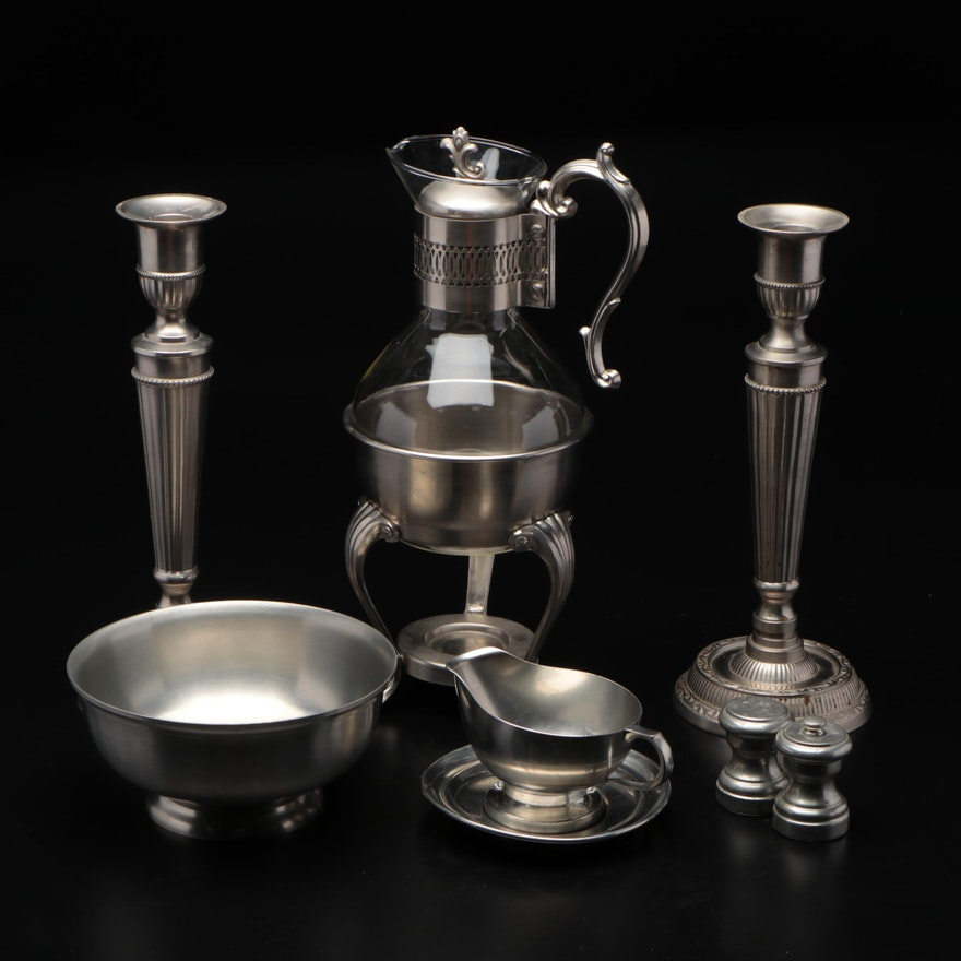 Queen Art Pewter Coffee Carafe, Silver Plated Bowl, Candlesticks and More