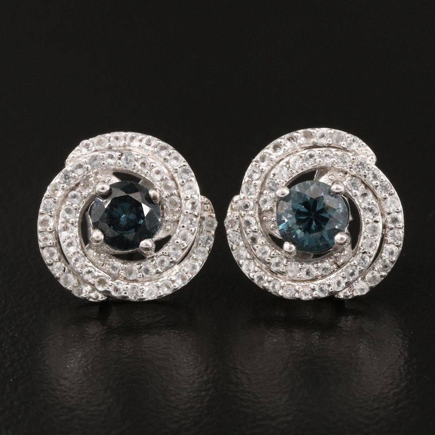 Sterling Silver Spinel and White Topaz Spiral Earrings