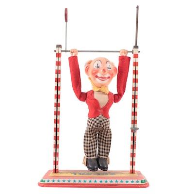 "Ohio Art ""Toe Joe"" Mechanical Clown Circus Acrobat Toy, 1950s"