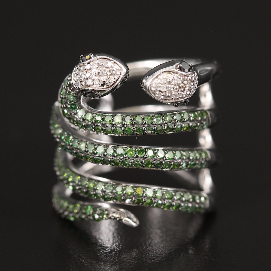 Sterling 1.00 CTW Diamond Double Snake Band