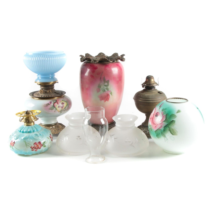 Queen Anne No. 2, Scovill Mfg. Co. and Other Oil Lamps with Glass Shades