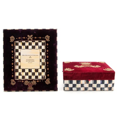 """MacKenzie-Childs """"Courtly Check"""" Felt-Topped Box and Picture Frame"""
