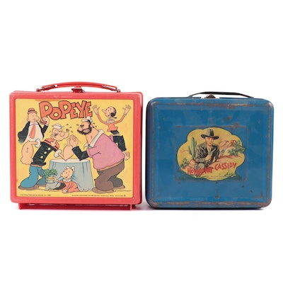 """Aladdin Industries """"Hopalong Cassidy"""" and King Features """"Popeye"""" Lunchboxes"""