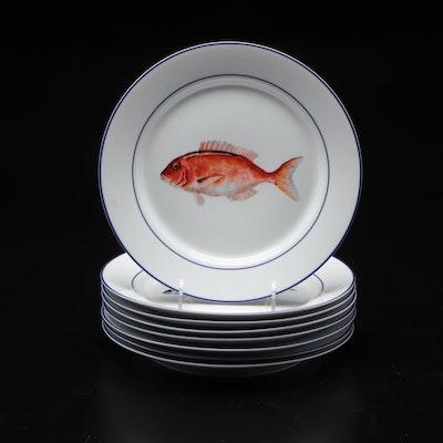 """Williams-Sonoma """"La Mer Fish"""" Ceramic Dinner Plates, 2008–2010"""