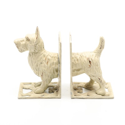 Cold-Painted Cream Colored Scottie Dog Metal Bookends