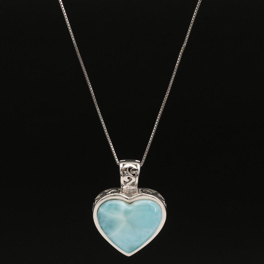Sterling Larimar Heart Enhancer Pendant Necklace