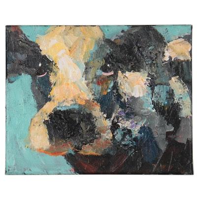 Elle Raines Acrylic Painting of Cow, 21st Century