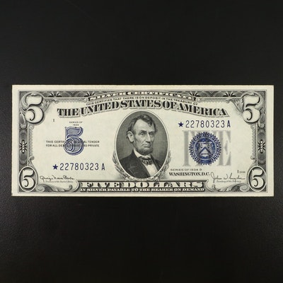 """Series of 1934D """"Star Note"""" $5 Silver Certificate"""