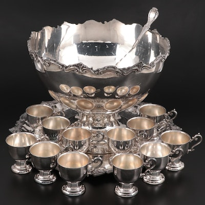 Birmingham Silver Company Silver Plate Punch Bowl, Ladle, Cups, and Underplate