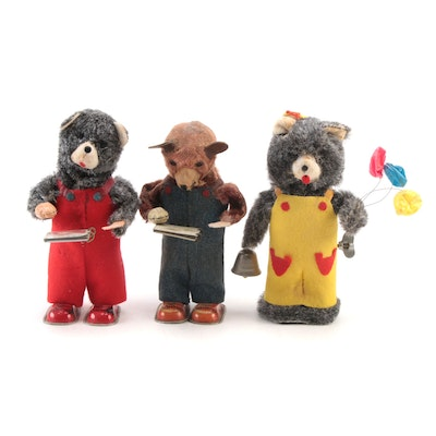 Alps Balloon and Reading Teddy Bear Wind-Up Mechanical Toys, 1950s-1960s