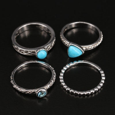 Sterling Sky Blue Topaz and Turquoise Stackable Rings