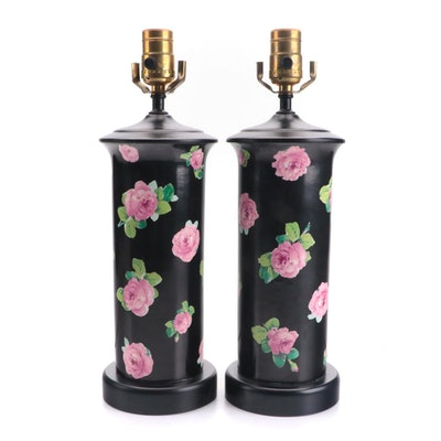 Cylinder Ceramic Vases with Pink Roses on Black, Late 20th C