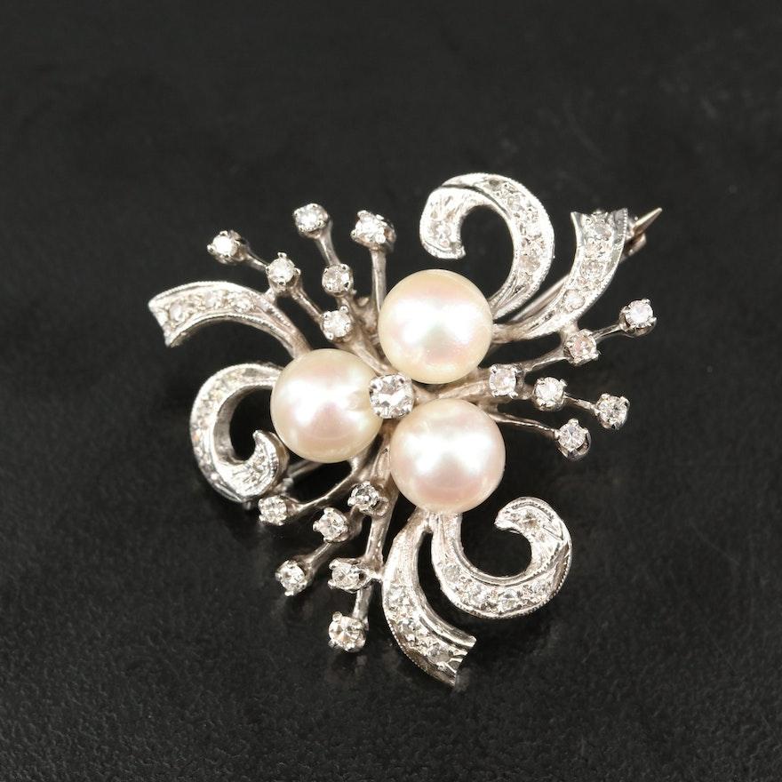 14K Pearl and Diamond Converter Brooch