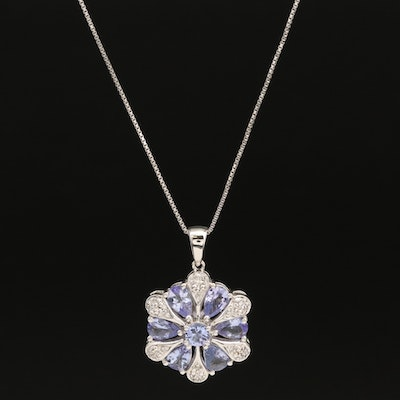 Sterling Tanzanite and Diamond Flower Pendant Necklace