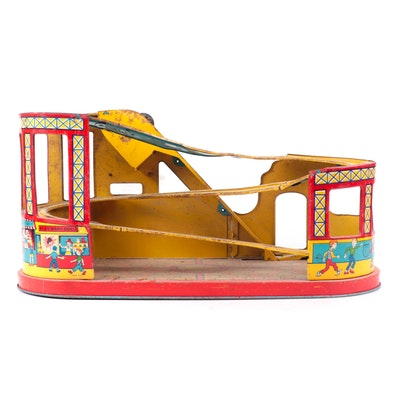 """J. Chein & Co. """"Roller Coaster"""" Tin Lithograph Mechanical Wind-Up Toy, 1950s"""