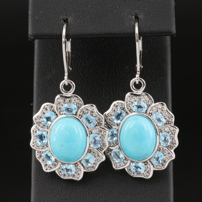 Sterling Silver Turquoise and Sky Blue Topaz Drop Earrings