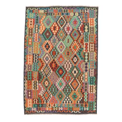 6'9 x 9'6 Handwoven Turkish Caucasian Kazak Kilim Rug, 2010s