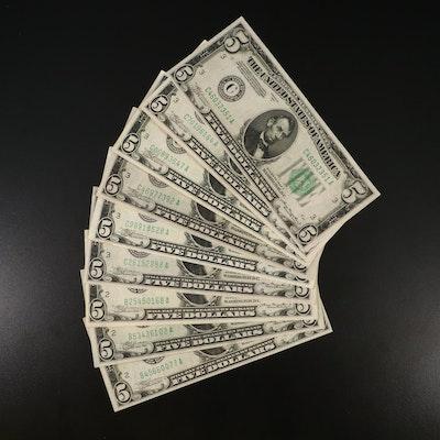 Nine 1934 $5 Federal Reserve Notes