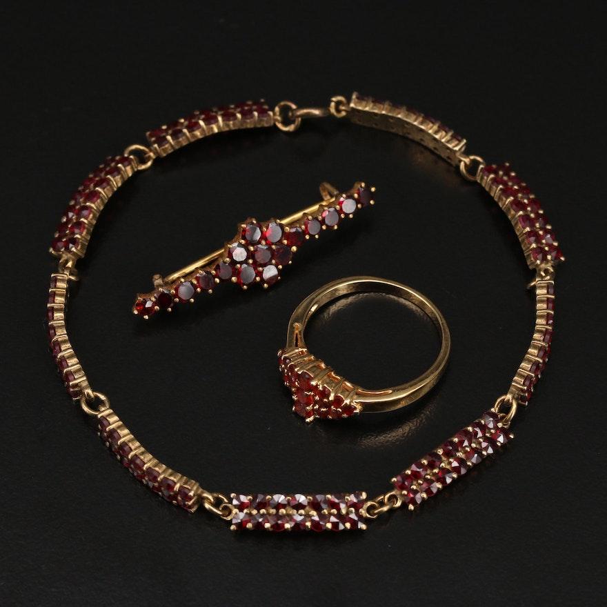 Bohemian Garnet Bracelet, Brooch and Ring