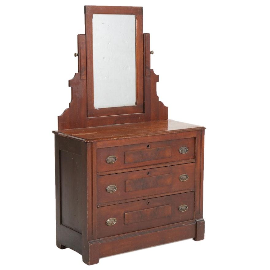 Walnut and Burl Walnut Three-Drawer Dresser, Early 20th Century