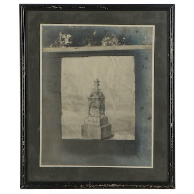 Silver Print Photograph of Gravestone Drawing, Late 19th-Early 20th Century