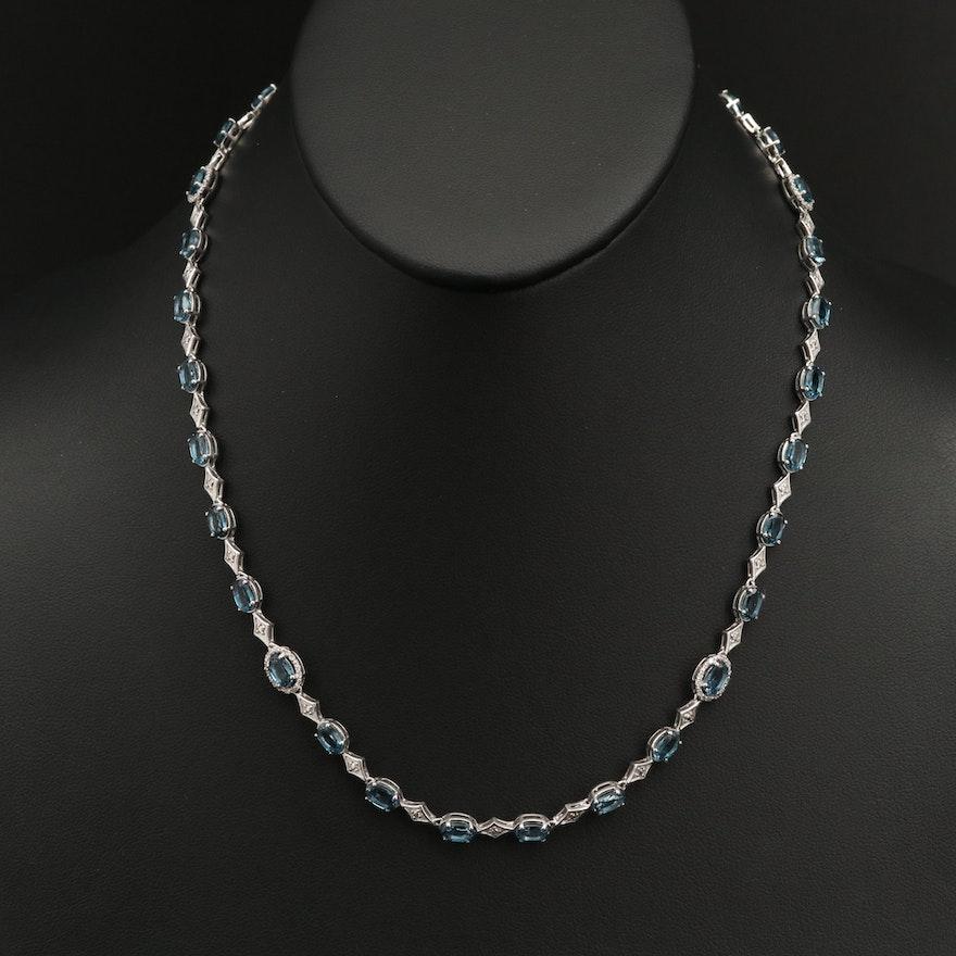 Sterling London Blue Topaz and Diamond Necklace