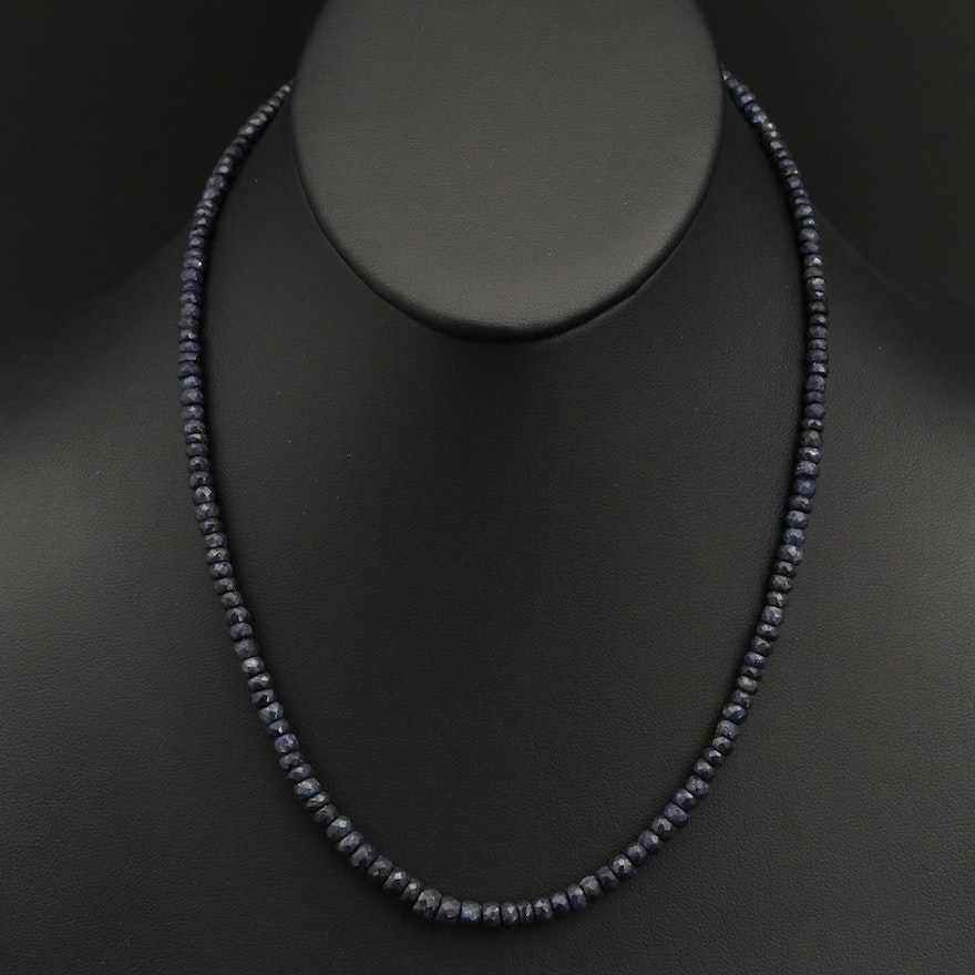 Graduated Corundum Beaded Necklace with Sterling Clasp