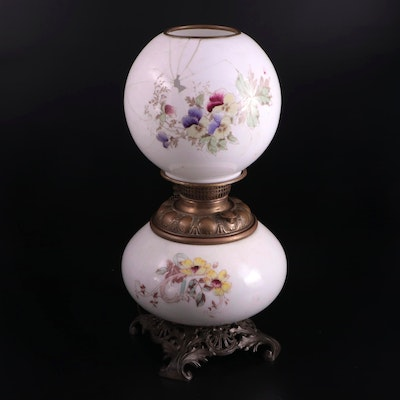 Brass and Milk Glass Converted Parlor Oil Lamp, Late 19th/ Early 20th Century