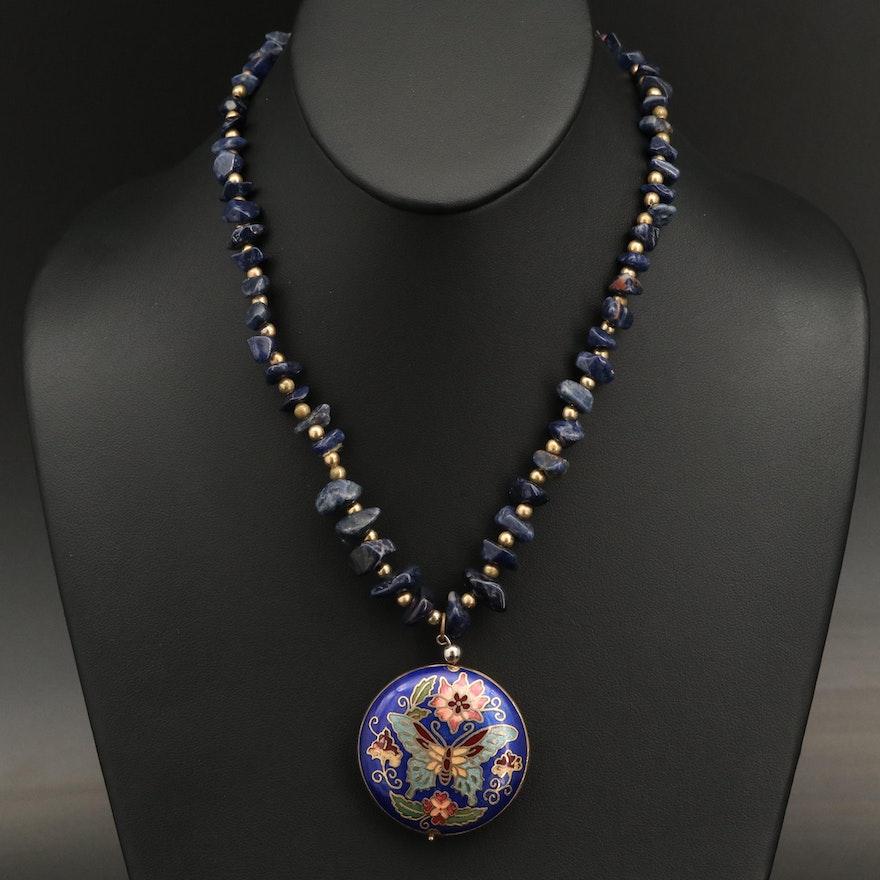 Sodalite and Cloisonné Enamel Butterfly Pendant Necklace
