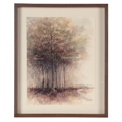 Elmer A. Ruff Watercolor Painting of Trees, 1967
